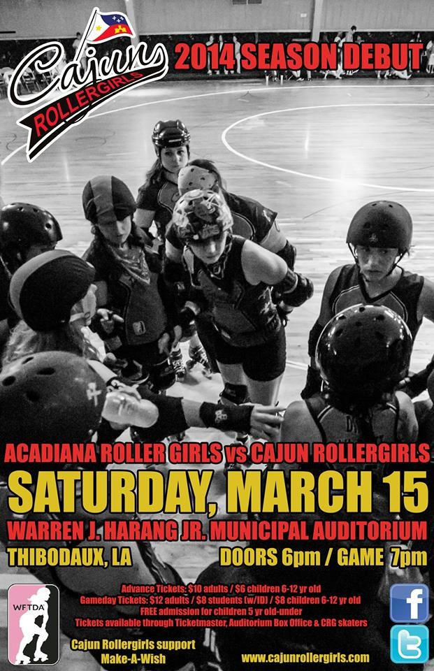 Cajun Rollergirls Open 2014 Season March 15 vs. Acadiana Roller Girls