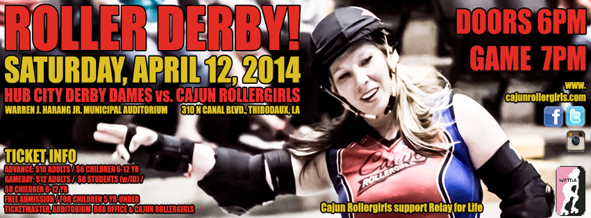 Cajun Rollergirls to Host Hub City Derby Dames' Southern Misfits for April 12 Game at Harang Auditorium