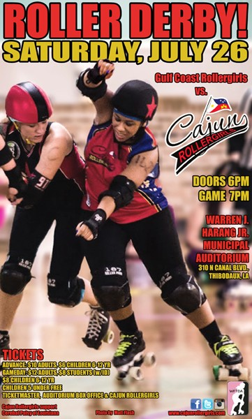 Cajun Rollergirls to Face Gulf Coast Rollergirls' Lafitte's Ladies at Harang Auditorium July 26