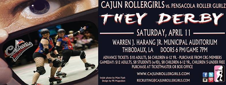 Cajun Rollergirls host Pensacola Roller Gurlz on April 11