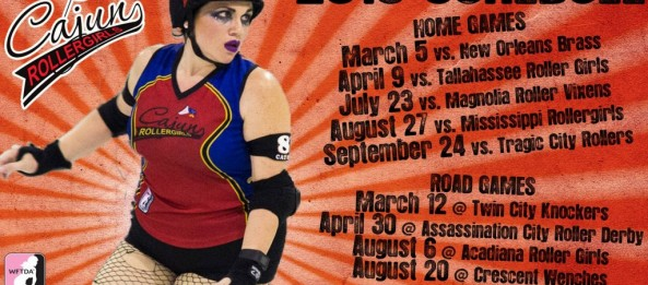 Presenting the Cajun Rollergirls' 2016 game schedule!