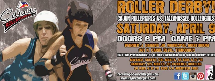 CRG faces Tallahassee on April 9 in Thibodaux! Come see us!