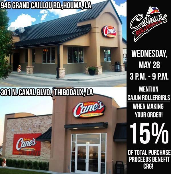 Buy some Raising Cane's, benefit Cajun Rollergirls!