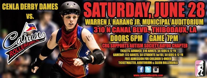 Cajun Rollergirls to Host CenLa Derby Dames in June 28 Game at Harang Auditorium
