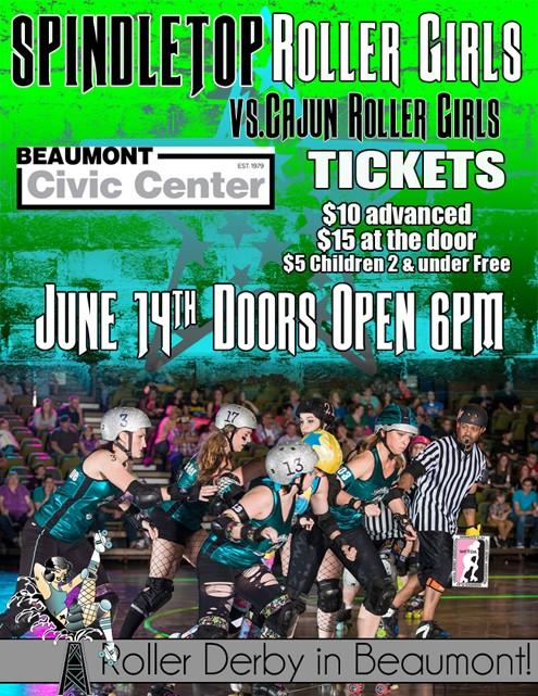 CRG travels to Spindletop Rollergirls for June 14 game