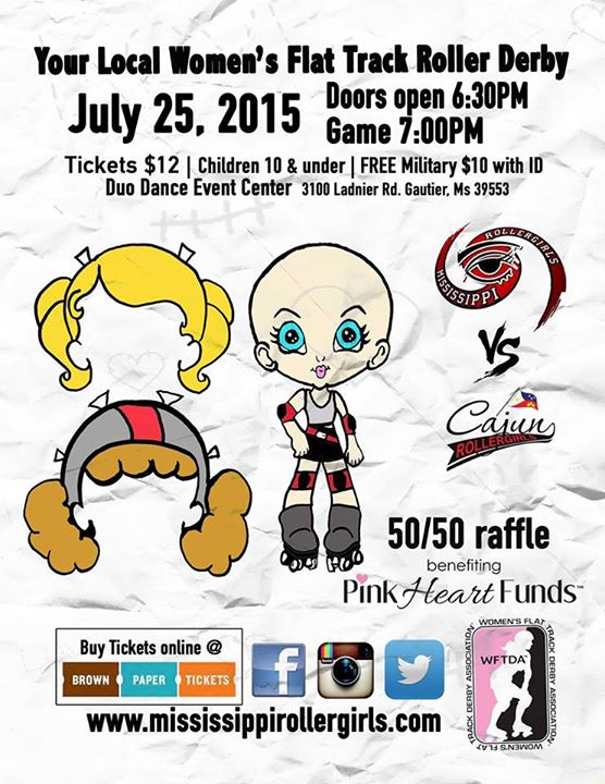 Cajun Rollergirls travel to Gautier to face Mississippi Roller Girls July 25