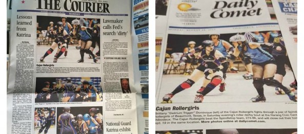 Cajun Rollergirls make the cover of The Courier & The Daily Comet!