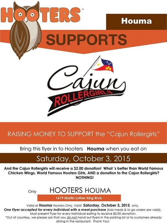 Eat at Hooters, Help the Cajun Rollergirls!